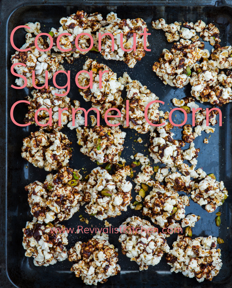 Coconut Sugar Carmel Corn! Gluten free & refined sugar free! Traditional food & Paleo friendly recipe! Click through to get recipe.