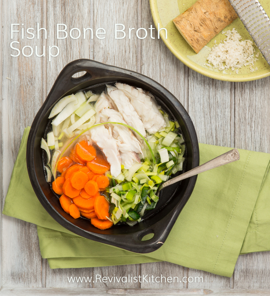 Gelatinous Fish Bone Broth and Erin's fish soup recipe. Paleo, GAPS, AIP, & Ketogenic diet friendly! Click through to access your FREE bone broth tutorial video!